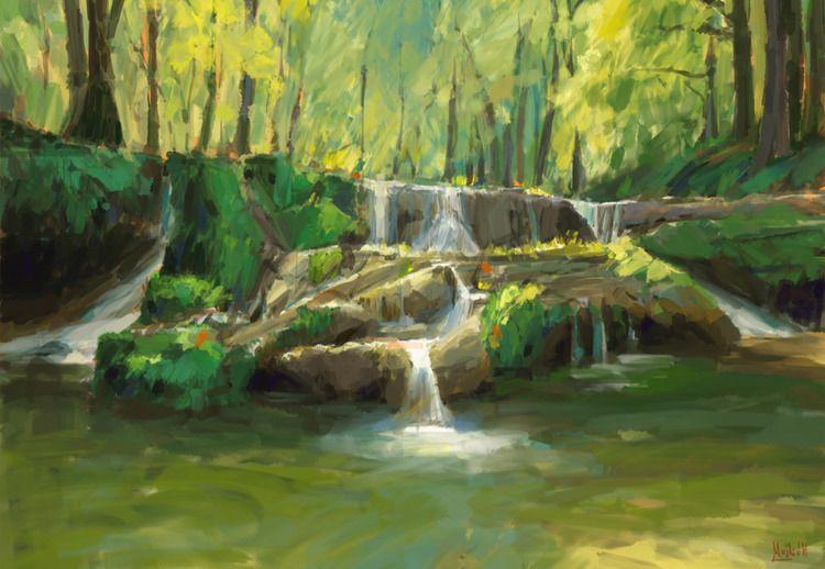 Serene waterfall Sketch, photo  - mujkicharis   ello