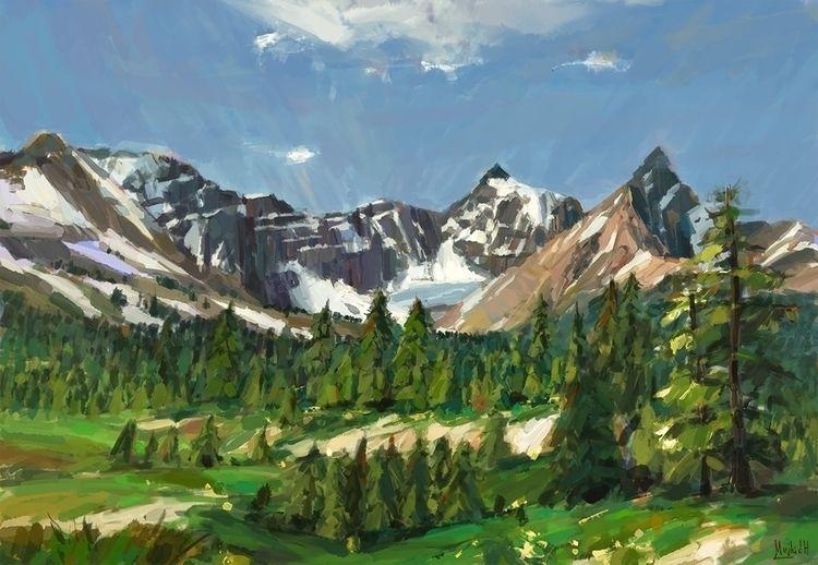 Snow dappled mountains Sketch,  - mujkicharis | ello