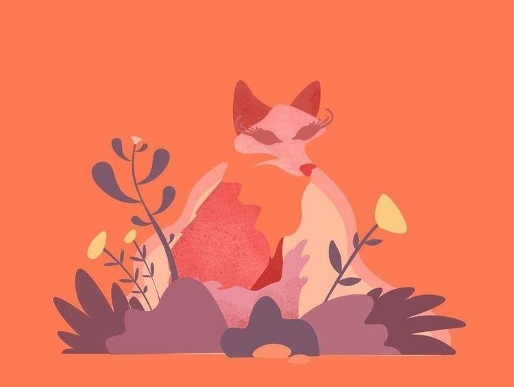 illustration, fox, orange, flower - vanila | ello