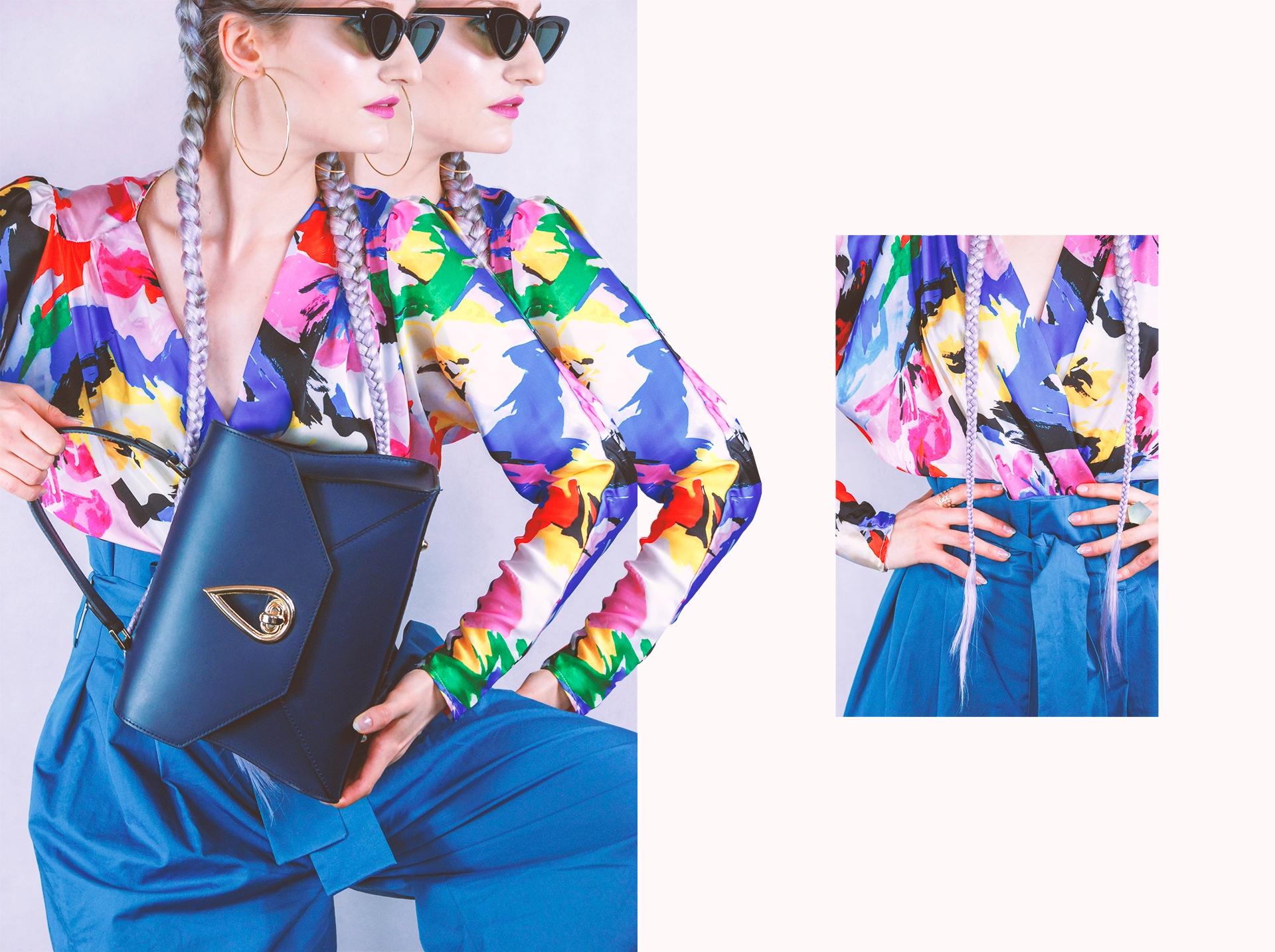 Obraz przedstawia dwa zdjęcia kobiety w niebieskich spodniach, kolorowej bluzce, trzymającej granatową torebkę. Zdjęcie po prawej stronie to zmniejszony kadr.