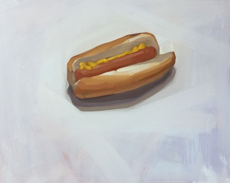 Hot Dog, oil paper, warm study - feliciaforte | ello