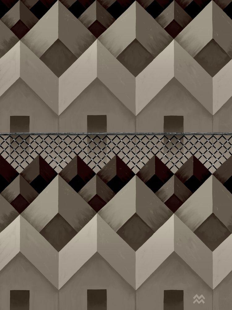 Fence + Houses (dividing monoto - miriamdraws | ello