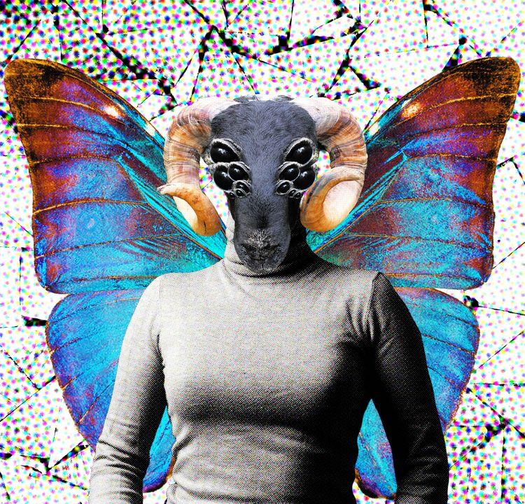 'deer fly II' digital collage m - cripple_flies_dogs | ello