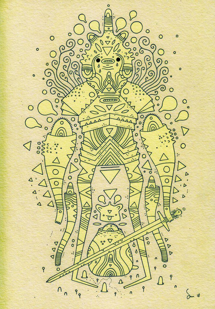 Wednesday warrior wip - illustration - cosmicnuggets | ello