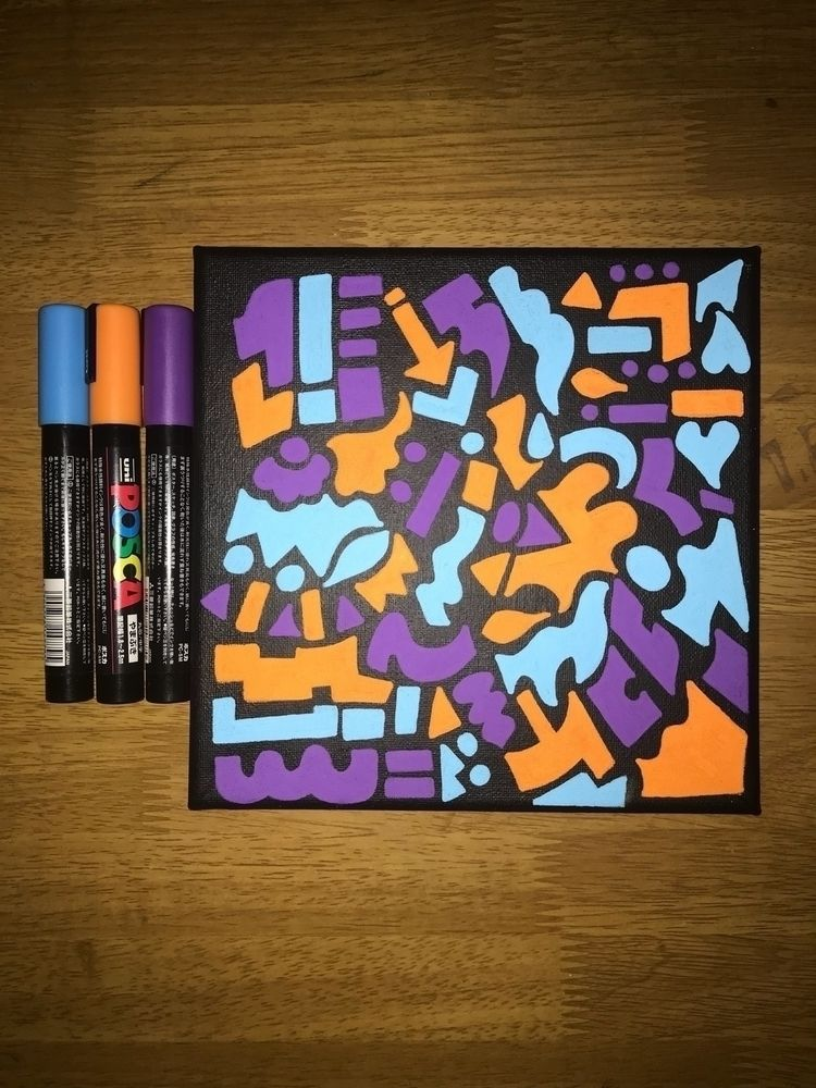Acrylic pens canvas. 20 20cm. P - bethcolecreative | ello