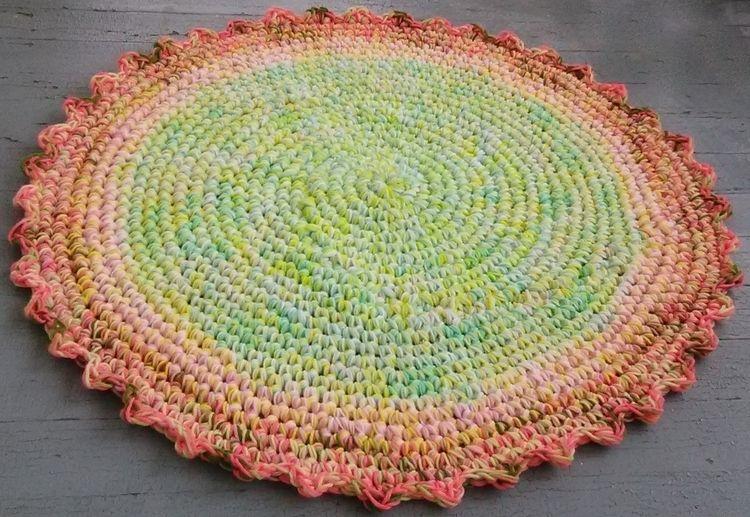 Handmade Crochet Spring Rug 36  - maryherrigfiberarts | ello