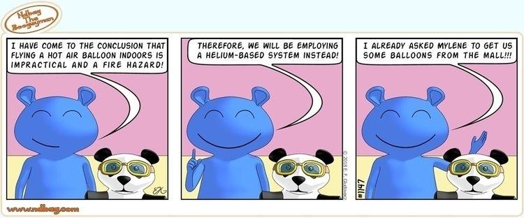 hot air - balloon, comic, panda - ndbag | ello