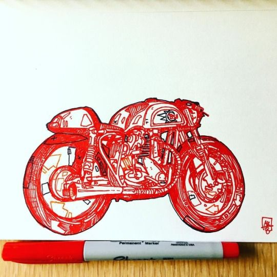 Morning Scribble - Cafe racer - norton - aaronkraten | ello
