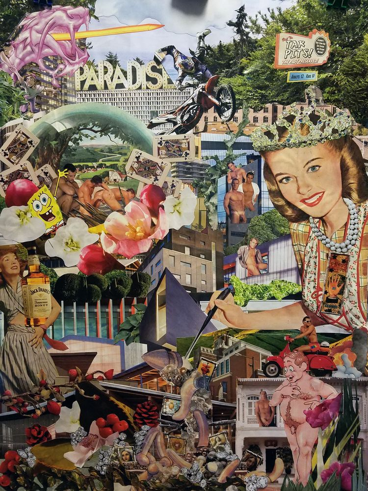 Paradise hand cut paste collage - geotaylor | ello