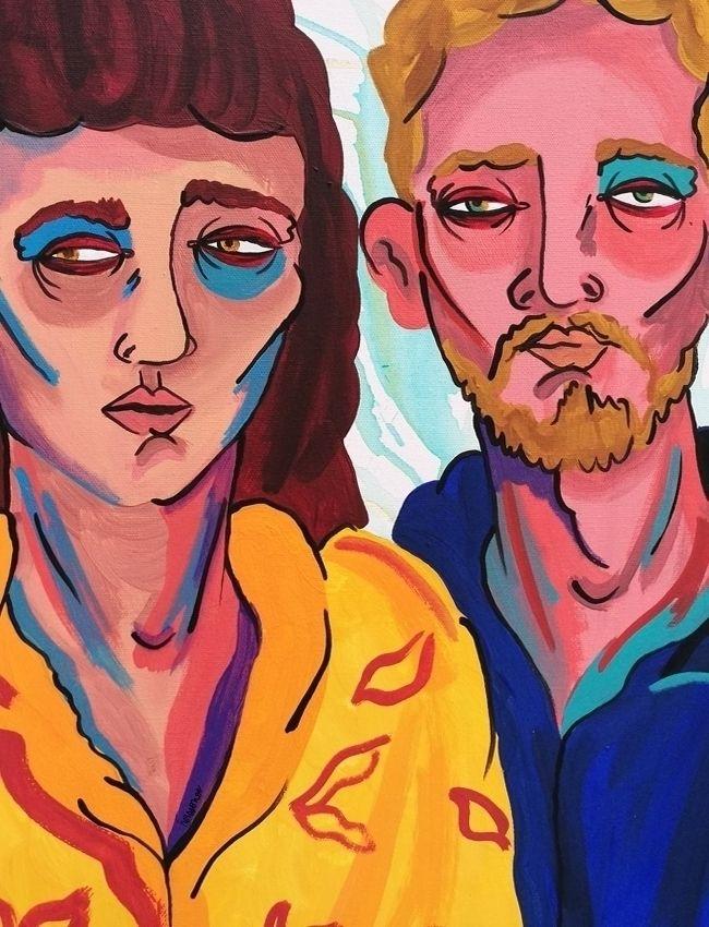 couple Acrylic Canvas Herssonoe - herssonoe | ello