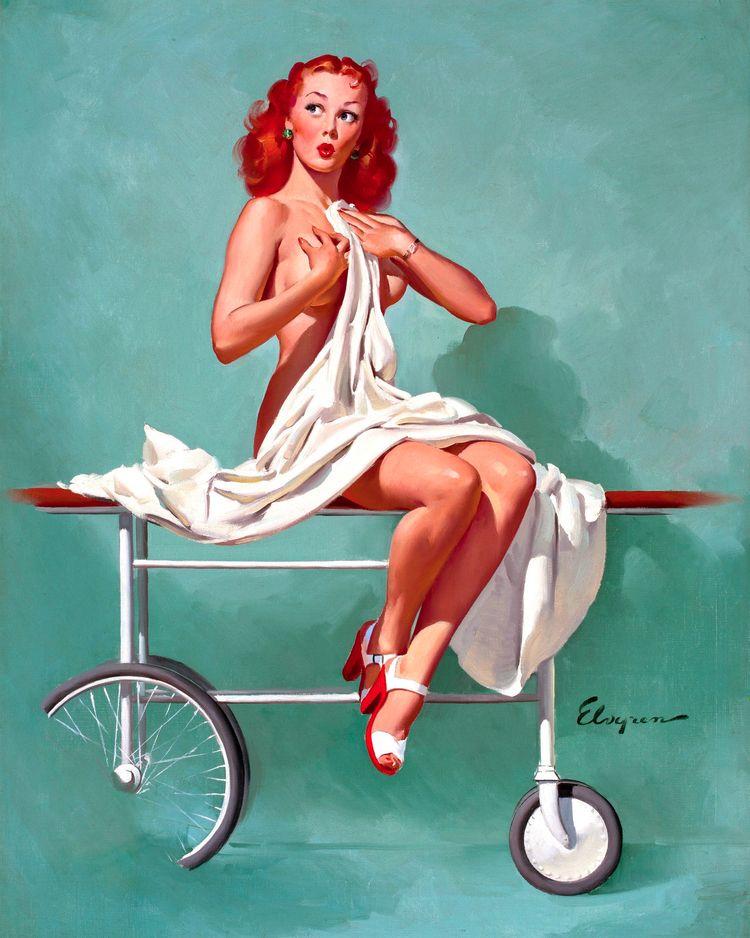 pinup, art, painting, redhead - ukimalefu | ello