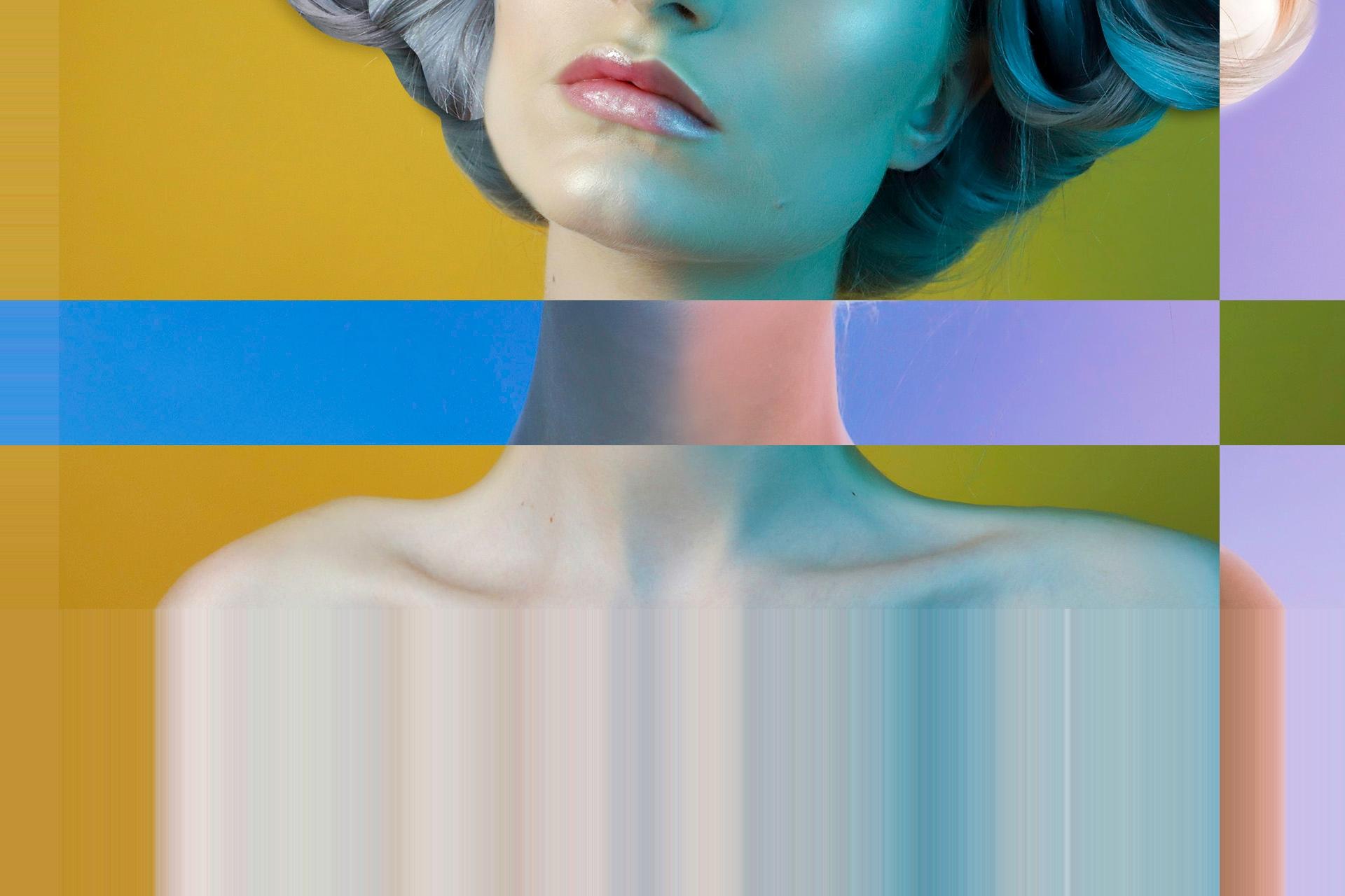 Zdjęcie przedstawia usta i szyję kobiety w otoczeniu graficznych elementów.
