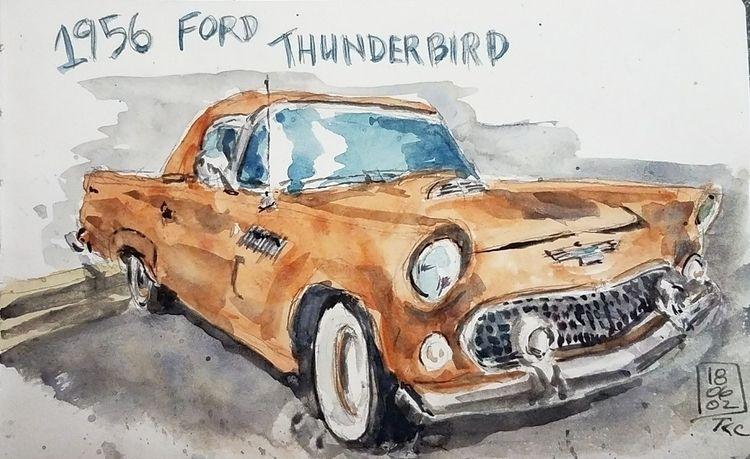 1956 Ford Thunderbird. Watercol - toddpop1 | ello