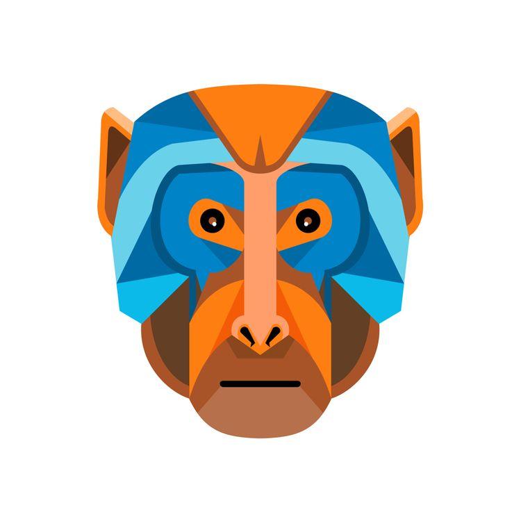 Rhesus Macaque Head Flat Icon - RhesusMacaqueHead - patrimonio | ello