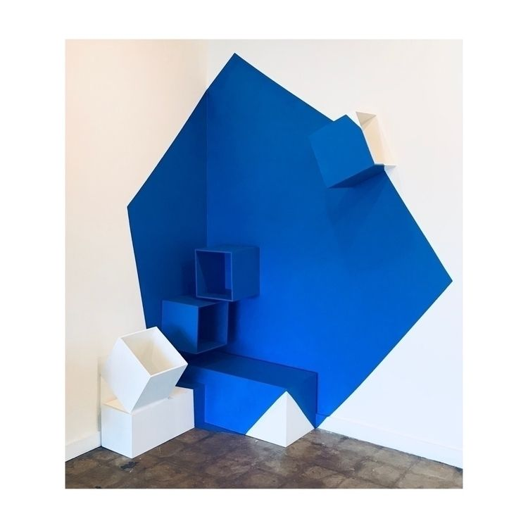 Blue Abstraction II Wooden cube - ericmichaelart | ello