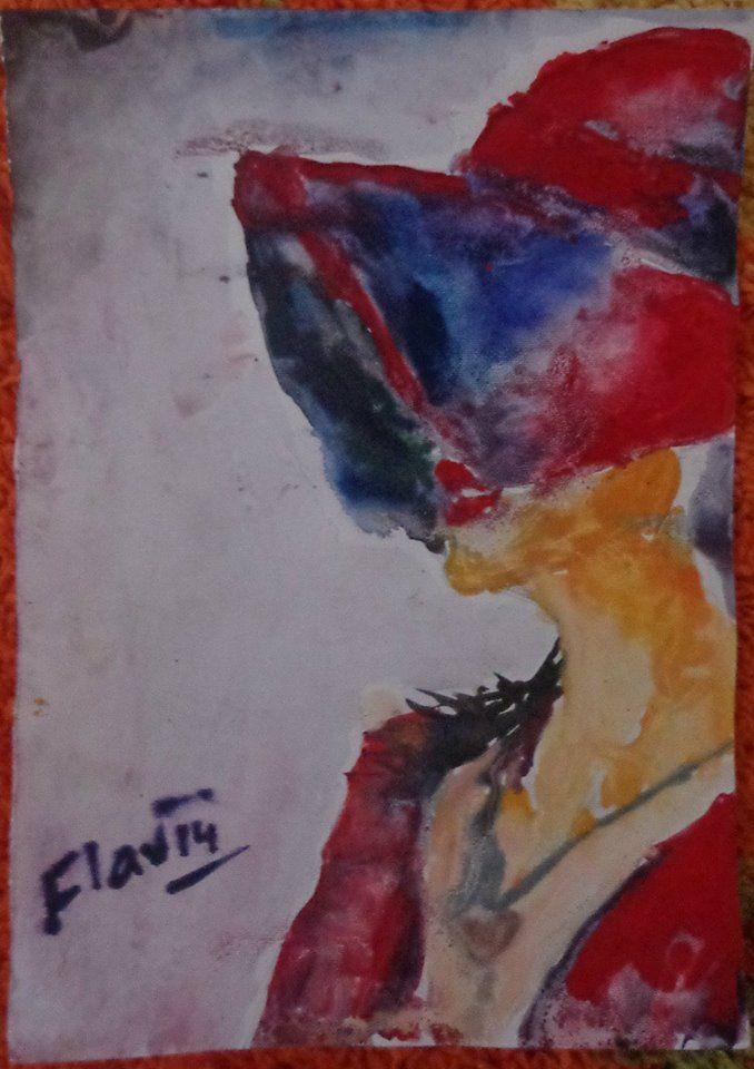WATERCOLOR/Painting/ Girl red h - gjishtiflavia | ello