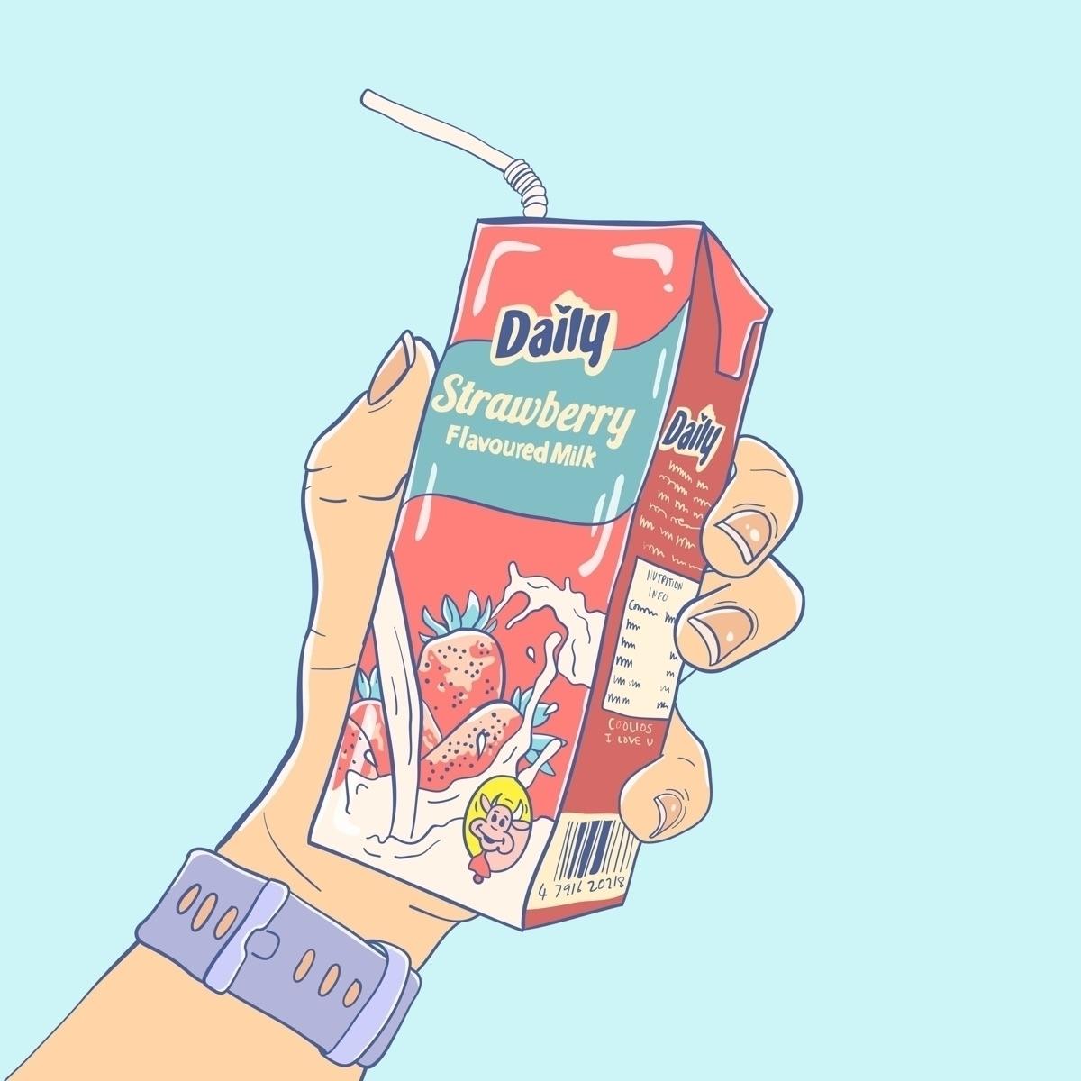 Strawberry milk - illustration, art - shapes | ello