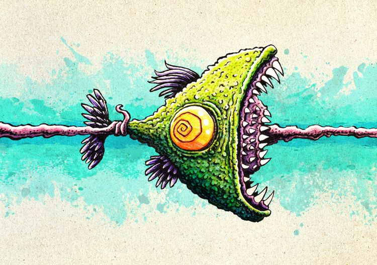Looped fish - crayon, crayons, brushpen - macomix | ello