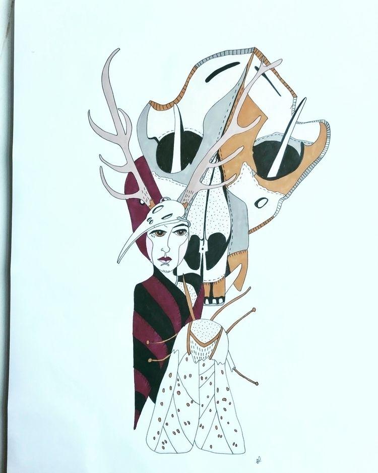 Wolf skull, bird skull Fae moth - naomilittle | ello