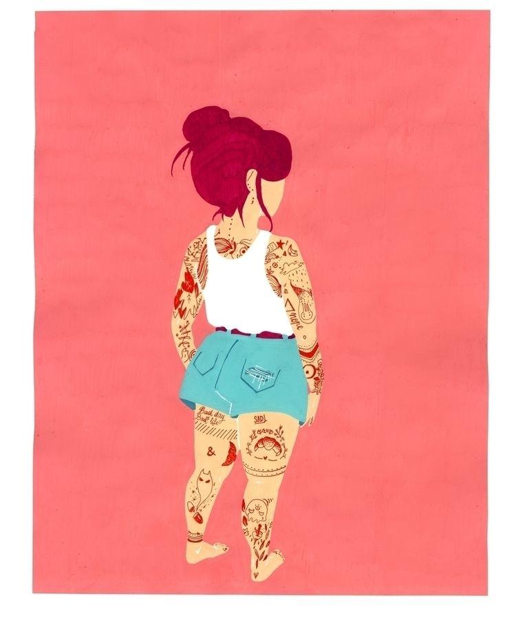 girl tattoos colorful - illustration - elisavocado | ello