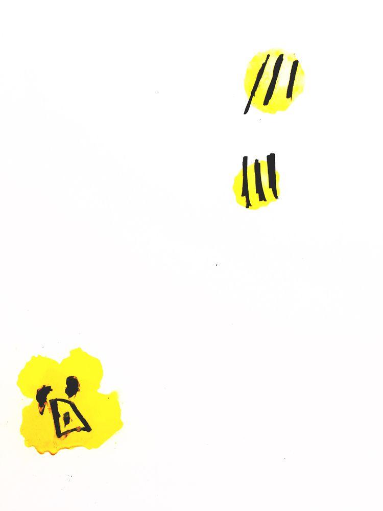 Bear Bees Lunch Flags - art, illustration - jkalamarz | ello