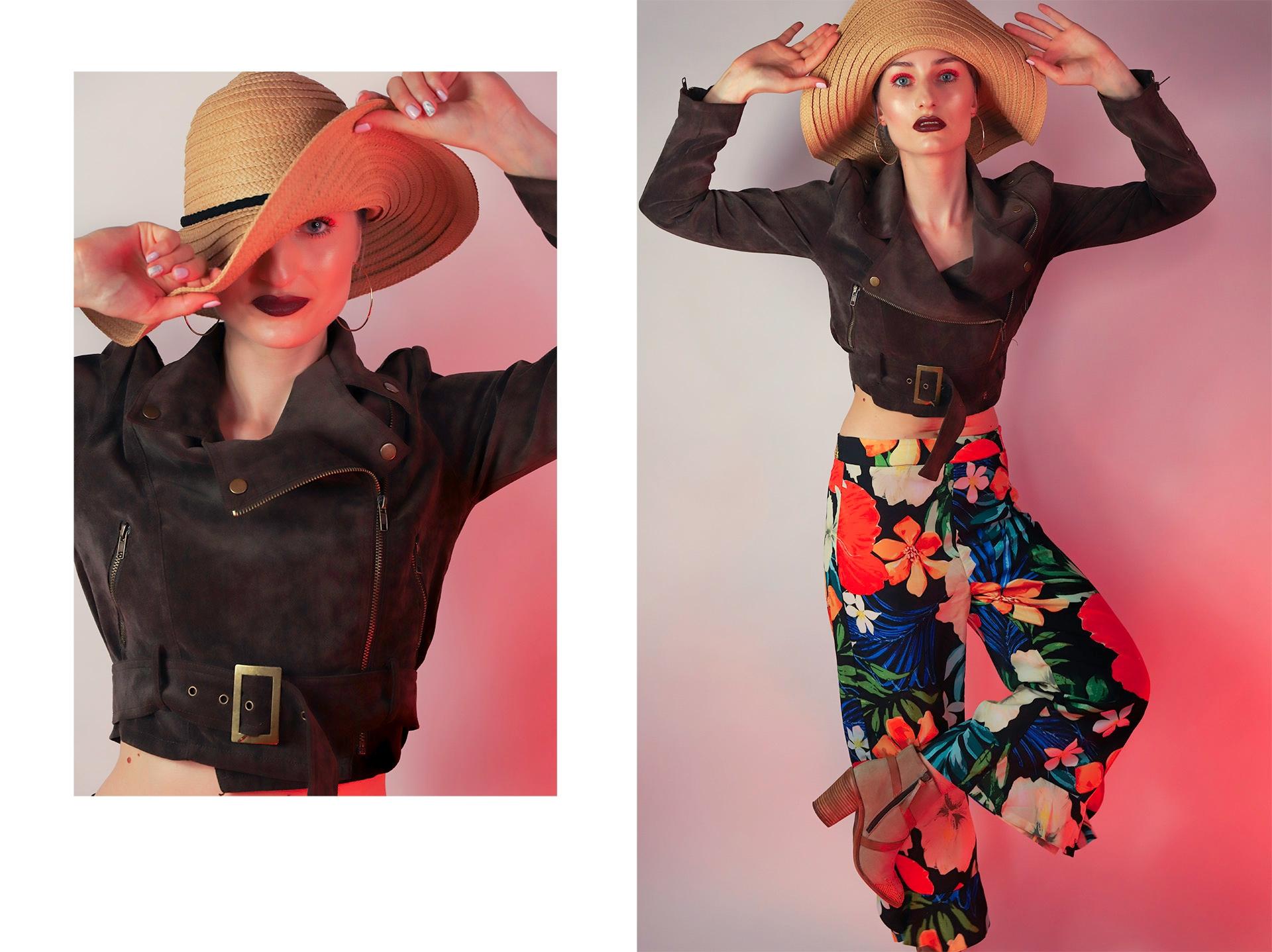 Obraz przedstawia dwa zdjęcia, zdjęcie z lewej to portret, a z prawej sylwetka kobiety w kolorowych spodniach i kapeluszu na głowie.