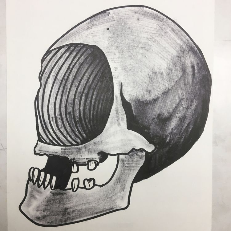 skull, skulldrawing, illustrationonello - donorbrain | ello