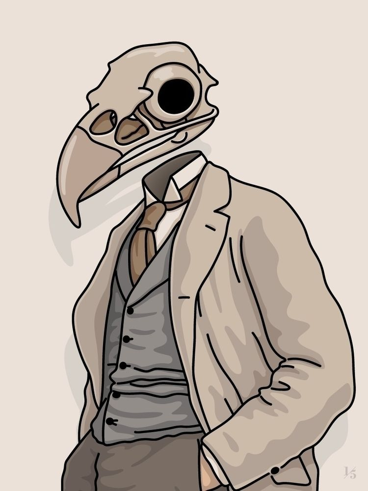 eagle, skull, gentleman, artwork - un_quinto | ello