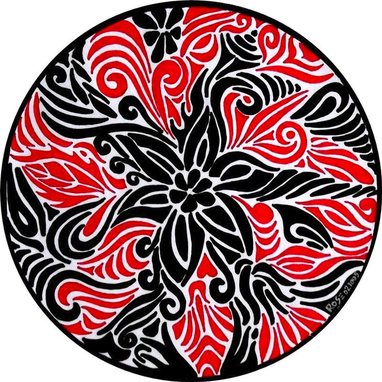 drawing, mandala, red, black - rozsamelinda | ello