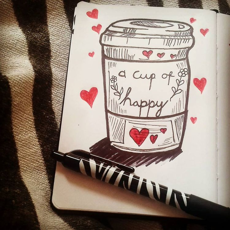 cup happiness - drawing, illustration - ruthohaganartist | ello