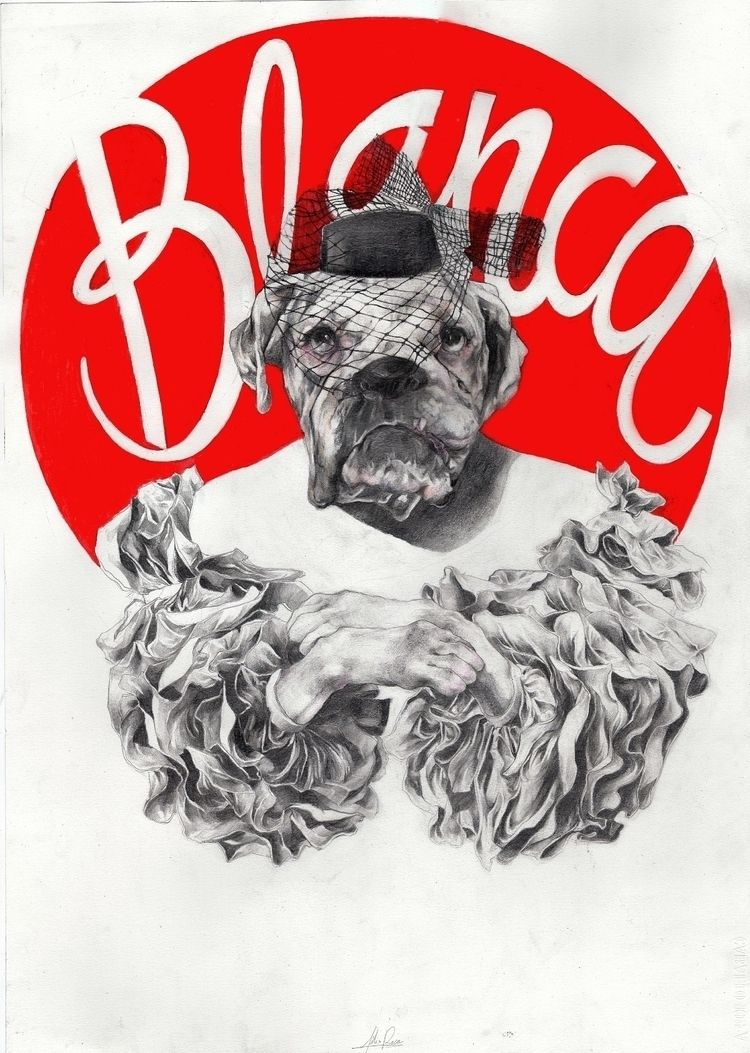 Spanish Dog Portrait, pencil ac - felixroca | ello