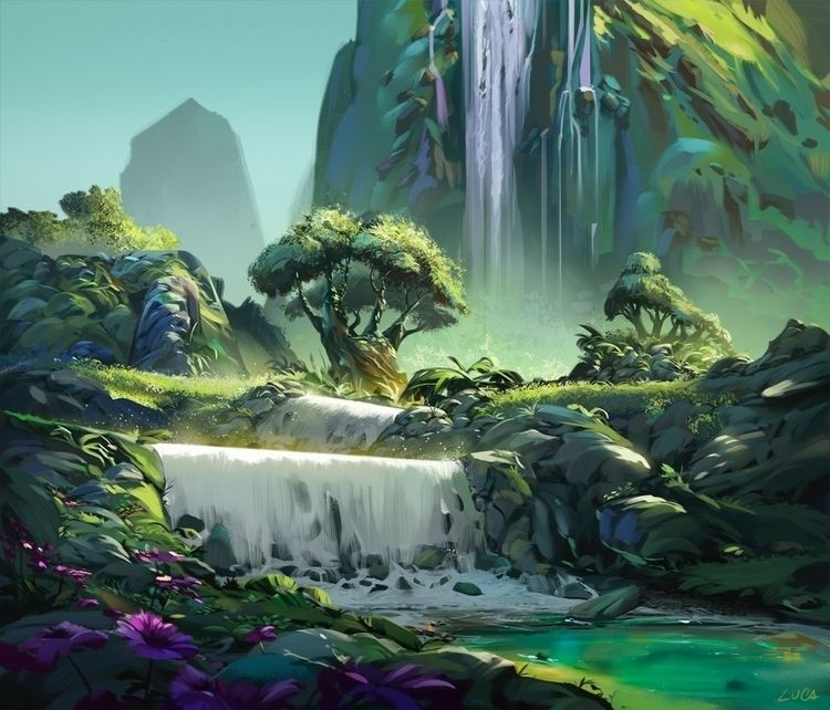 visualdevelopment - waterfall, art - lucapisanu | ello