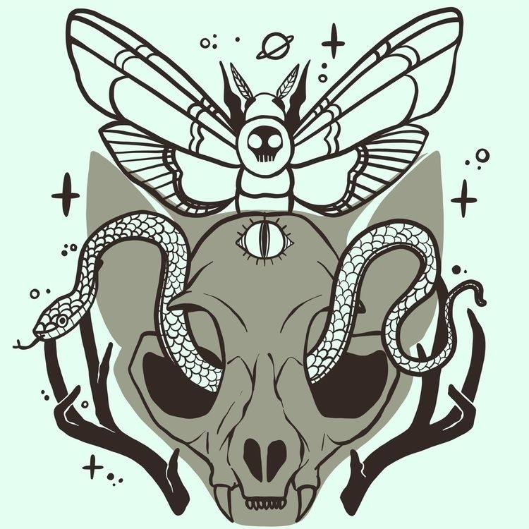 Death head moth, cat skull, sna - cellsdividing | ello