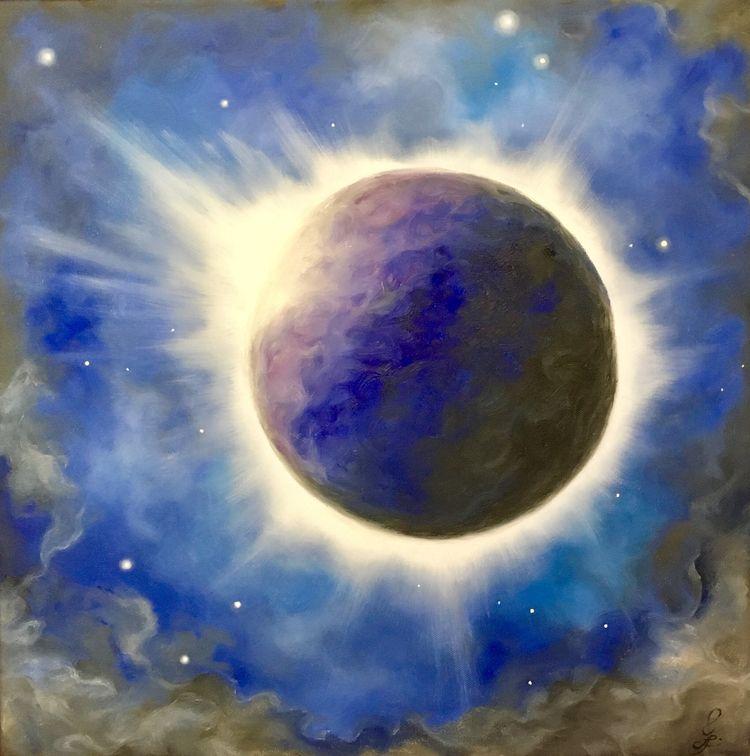 Fire Ice (solar eclipse) 20x20  - spinninginfinityart | ello