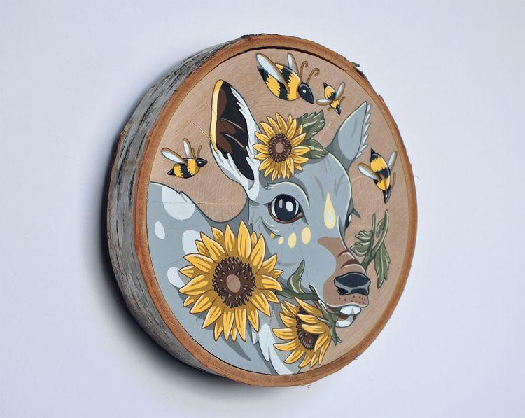 Fawn Sunflowers, Summer, gouach - sagecotignola | ello