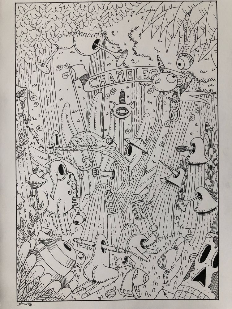 chameleon, 1day1animal, drawing - jimmy-draws   ello