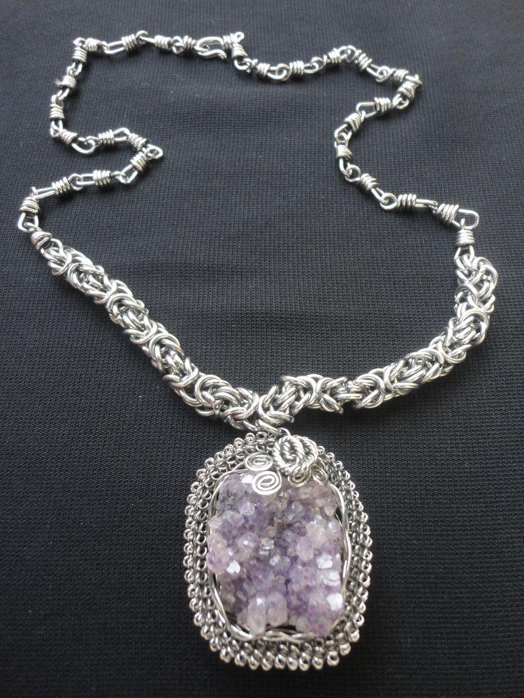 Knitted cord silver 950 Amethys - mrandmrsmacedo | ello