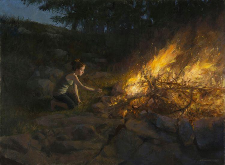 Jaanipäev, oil linen, 34 46 - figurativeart - alexandratyng | ello