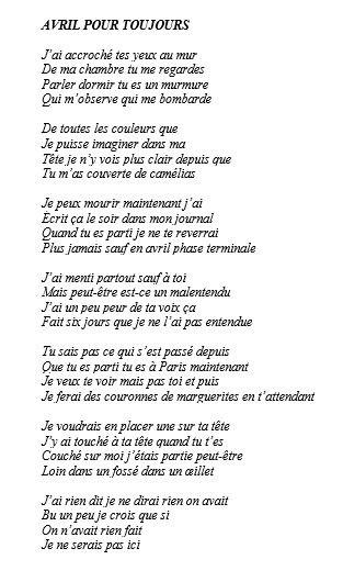 AVRIL POUR TOUJOURS - poème écr - sunkissed21 | ello