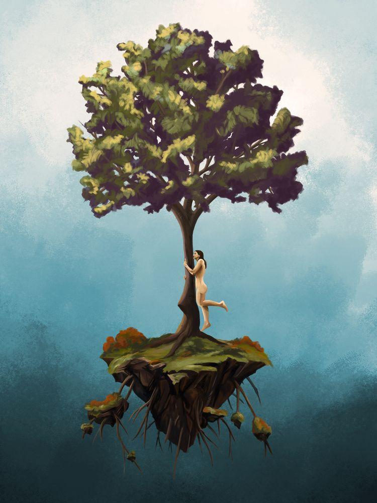 Hug tree - digitalart, painting - fconde | ello