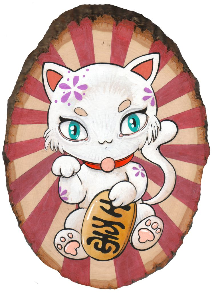 Lucky Cat - gouache natural bas - smushbox | ello
