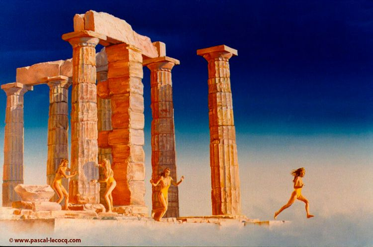 CAP SOUNION - oil canvas Pascal - bluepainter | ello