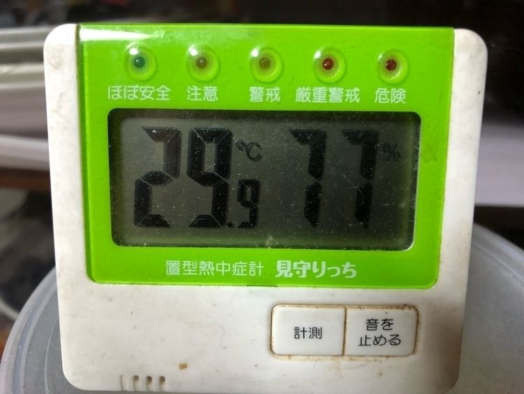 気温29.9度、湿度77%。19:40現在。 temperat - johndoeitose | ello
