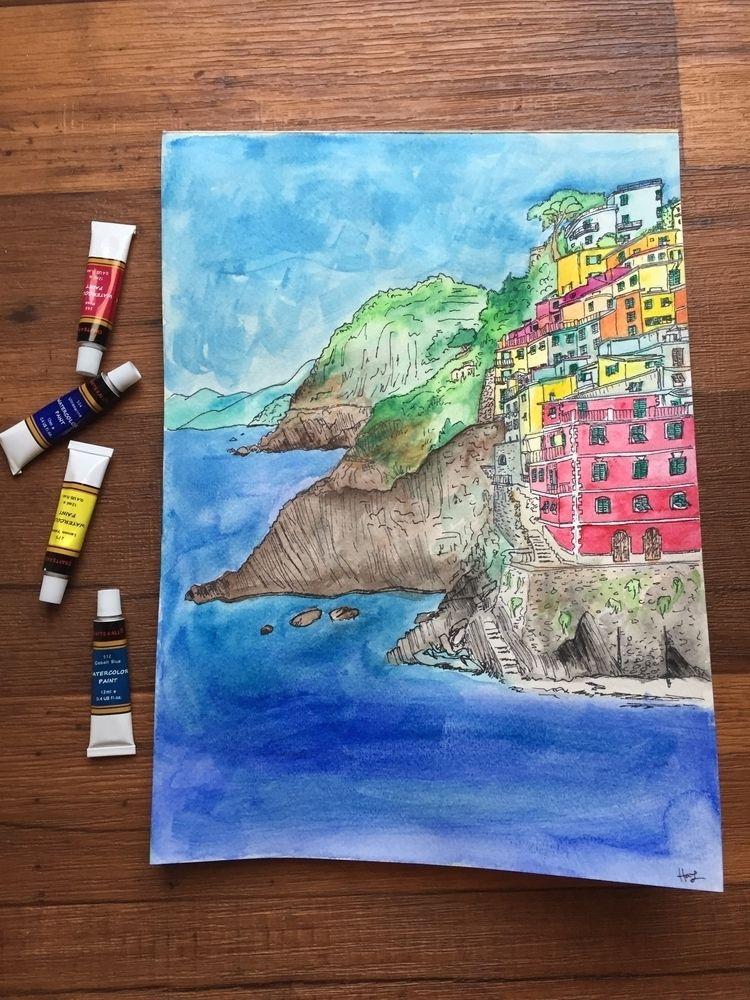 Cinque Terre, Italy - watercolor - hannah_piranha | ello
