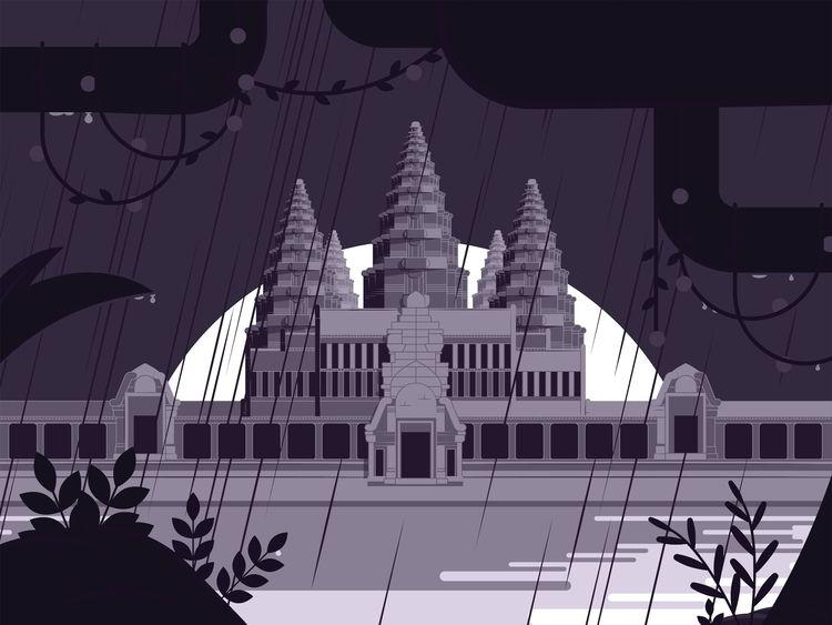 Angkor Wat temple, rainy season - aureliensoula   ello