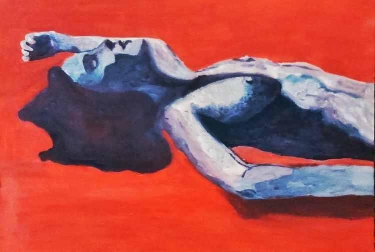 | Lady red ///// oil paper - art - guiart | ello