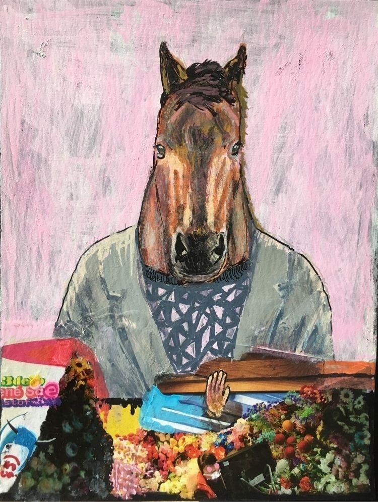 horse, art, suit, collage, flowers - adgangforbudt | ello