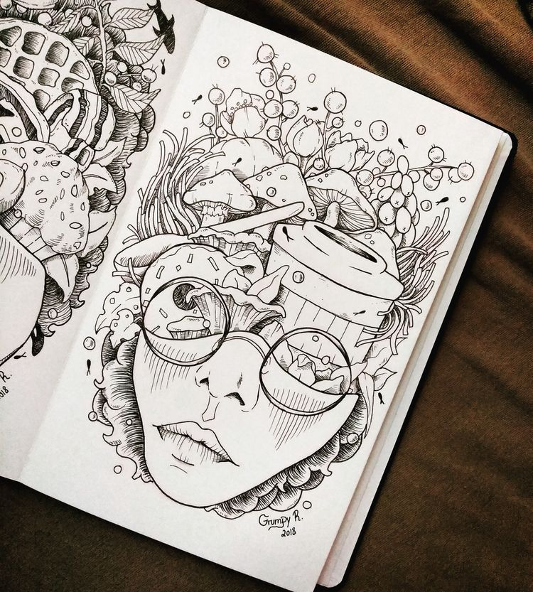 doodle! Coffee Head! days coffe - grumpyraven | ello