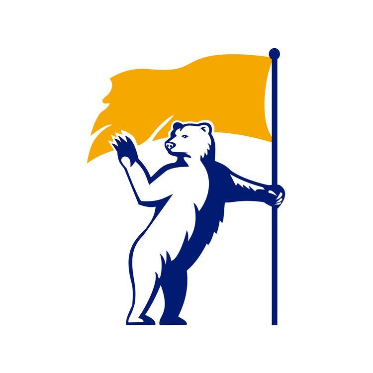 Polar Bear Holding Flag Waving  - patrimonio | ello