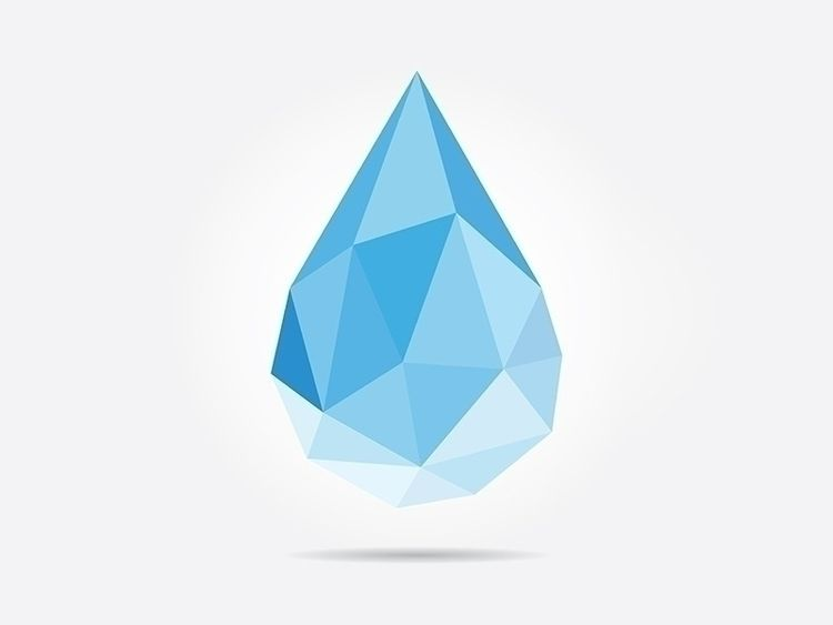 Polygonal Drop - abstract, aqua - dmitrykovalev | ello